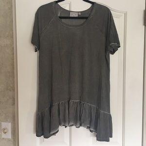 Gray ruffle blouse